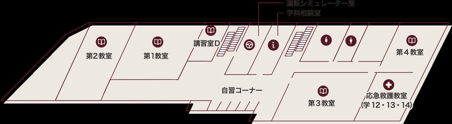 星が丘自動車学校の3階の構内案内図