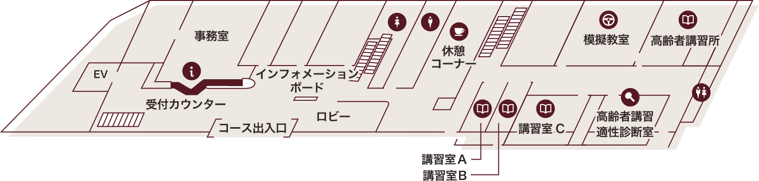 星が丘自動車学校の2階の構内案内図