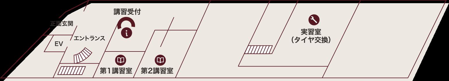 星が丘自動車学校の1階の構内案内図